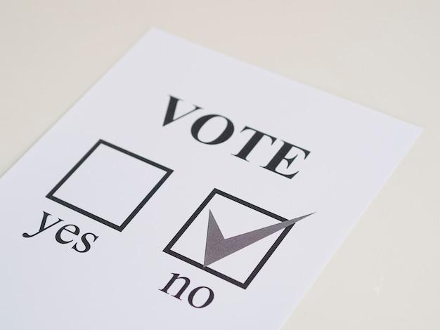 高角度の国民投票の否定的な選択