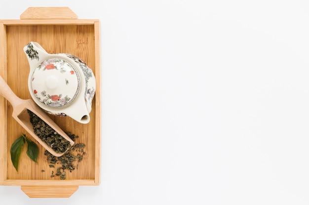 やかんとお茶のシャベルとトレイ