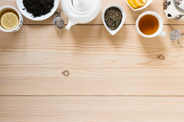 コピースペースとお茶のトップビュー