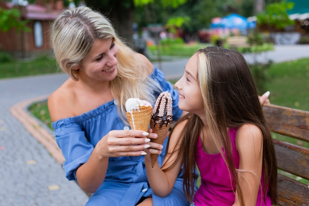 Мать и дочь едят мороженое