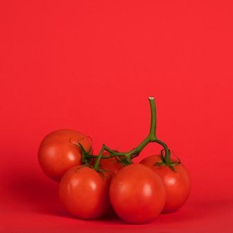 背景が赤の枝にトマト