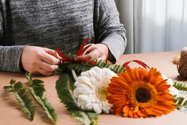 正面の花の花束の作成
