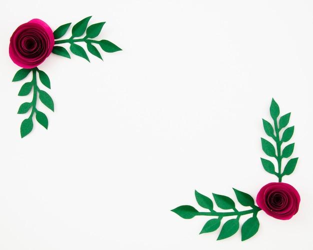 Вид сверху красочная цветочная рамка из бумаги