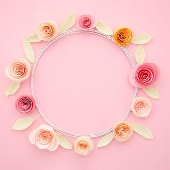 カラフルな紙の花で美しい装飾用フレーム
