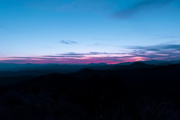 クリスタルブルーの澄んだ空のパノラマ