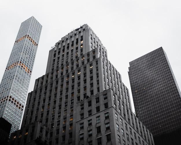 高層ビルの低角度のビュー