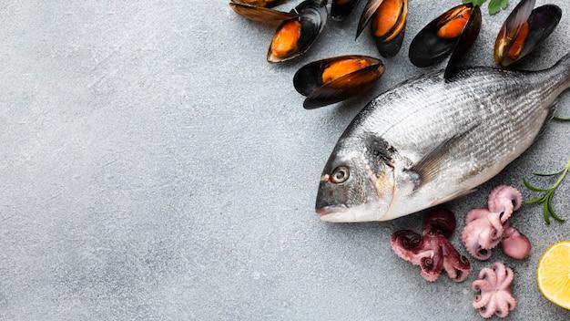 テーブルの上の新鮮な魚介類のトップビュー