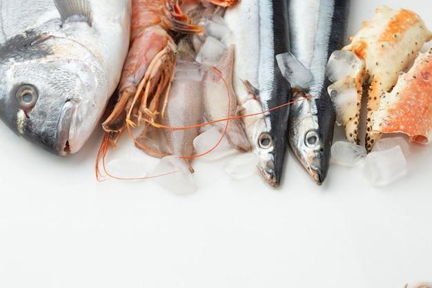 アイスキューブと高角度の新鮮な魚介類