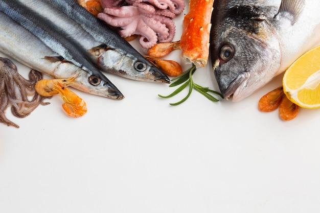 テーブルの上の新鮮な魚介類のミックス