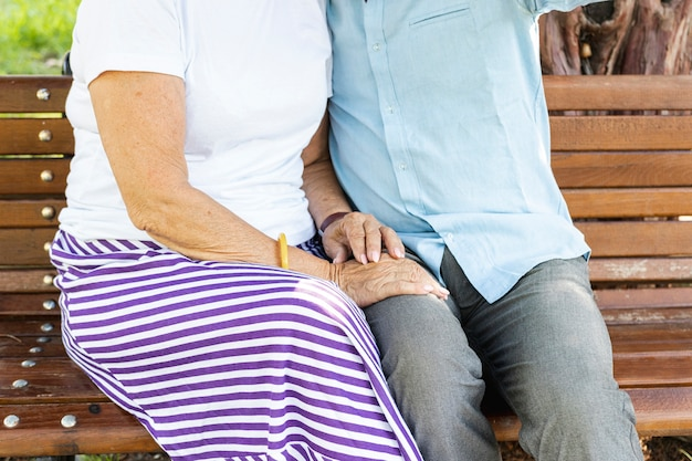 ベンチのクローズアップに座っている老夫婦