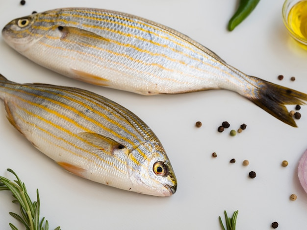 Вид сверху вкусной и свежей рыбы на тарелке