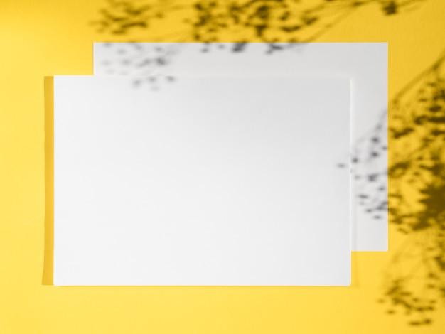 黄色の背景と枝の影に白い空白