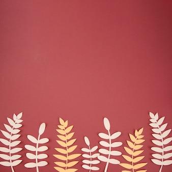 紙からの人工葉のかわいい配置