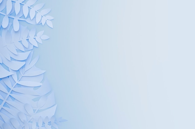 グラデーションブルーの背景に折り紙のエキゾチックな紙植物