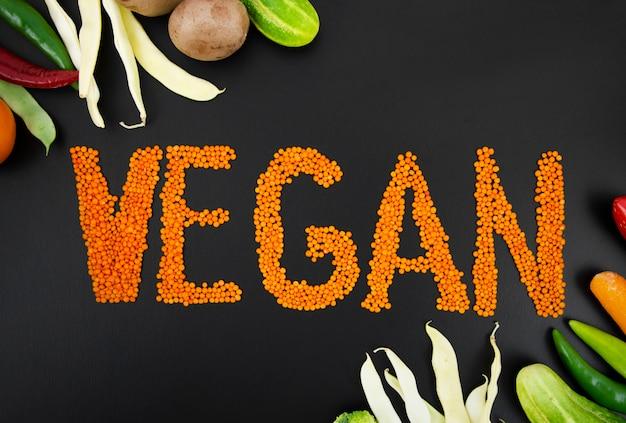 種文字と新鮮な野菜のフレーム