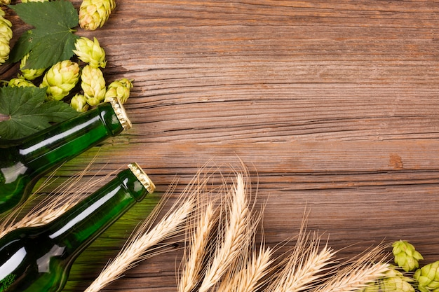 ビール瓶のフレームとコピースペースと小麦