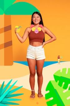 Женщина на пляже с иконой украшения
