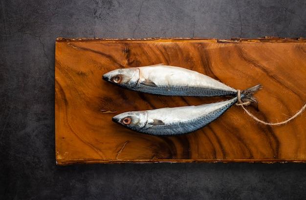 魚と漆喰の背景を持つフラットレイアウト装飾
