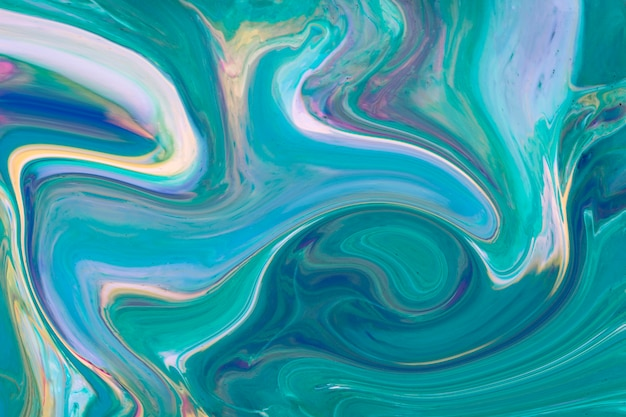 波状グラデーション青と緑のアクリル現代美術