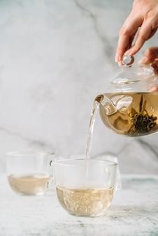 カップと大理石の背景にお茶を注ぐ人
