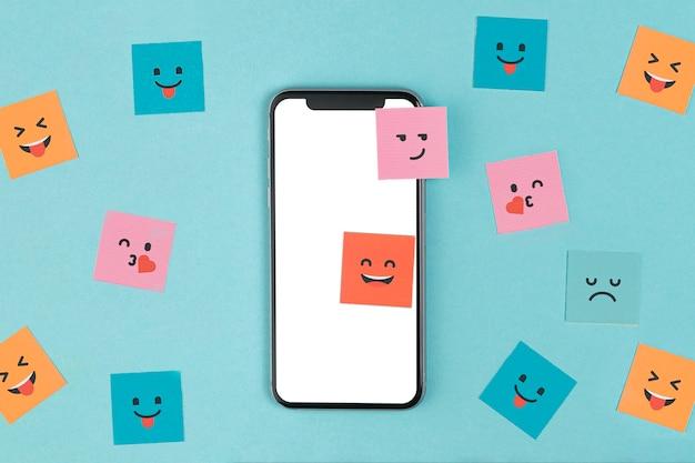 Телефон макет на синем фоне