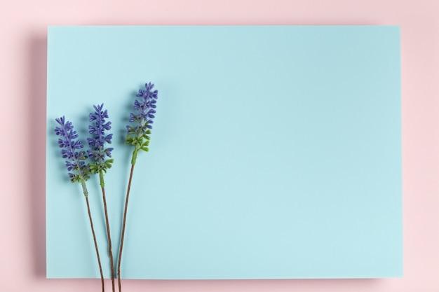 Лаванда на синий прямоугольник макет