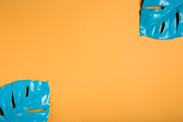 Легкие синие листья на оранжевом фоне с копией пространства