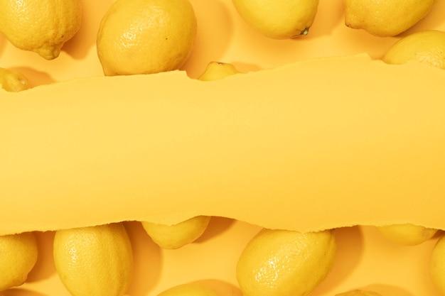 新鮮なレモンで作られたトップビューフレーム