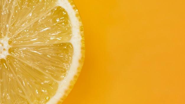 クローズアップとレモンの酸スライス