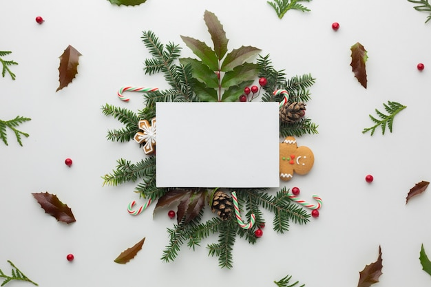 Вид сверху новогоднее украшение макет