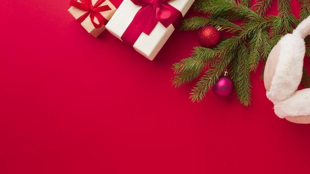 Вид сверху рождественские украшения с копией пространства