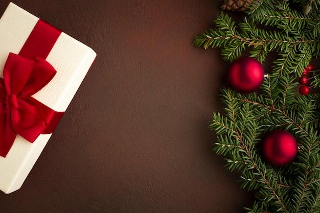 トップビューお祝いクリスマスコンセプト