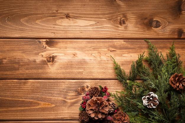 コピースペースでトップビュークリスマス装飾