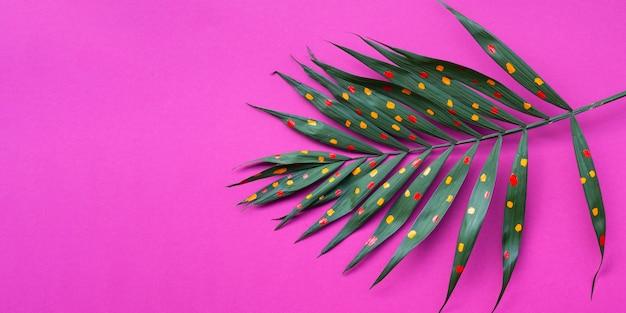 シダの葉にコピースペースの表面にドット