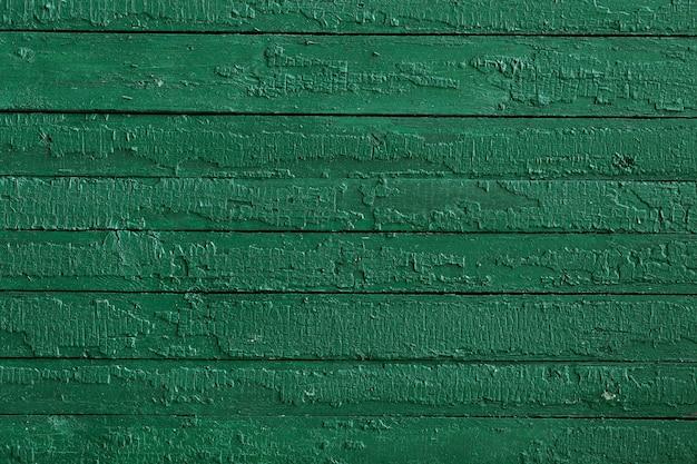 水平ストライプの緑の塗装木材