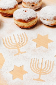 クローズアップおいしいユダヤ人のドーナツ