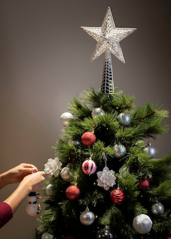 星の装飾と正面のクリスマスツリー