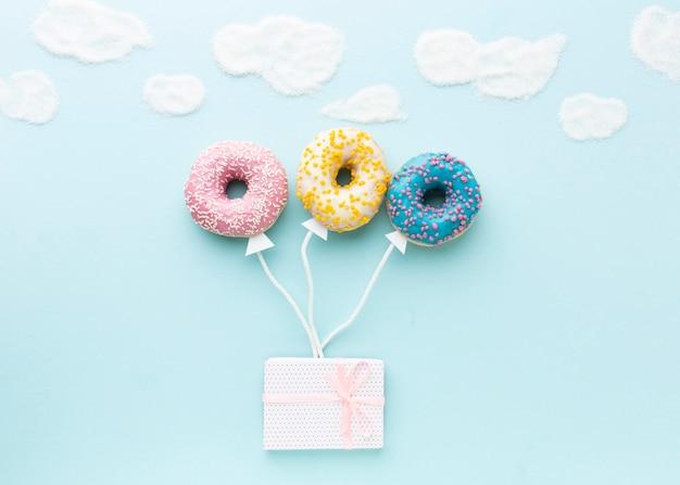 Концепция с пончиками вид сверху
