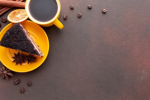 コピースペースとチョコレートケーキ