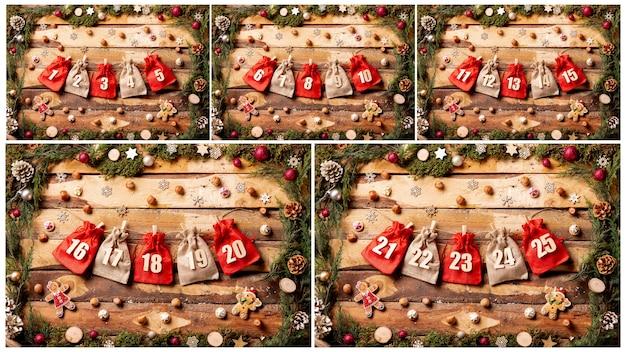 Вид спереди красочная коллекция календаря пришествия