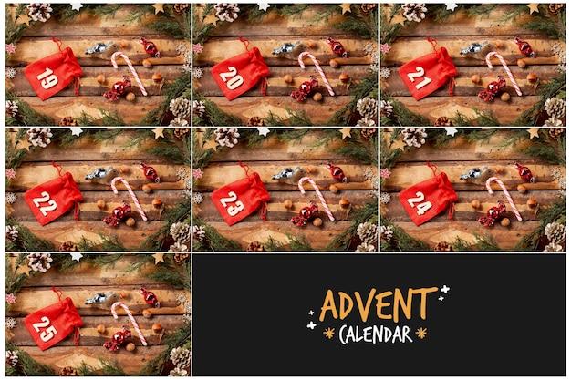 アドベントカレンダーデザイン用の番号付きポーチ