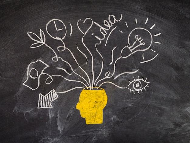 黒板の頭とアイデアコンセプトデザインの描画