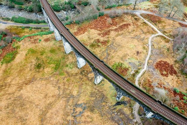 鉄道道路の空撮