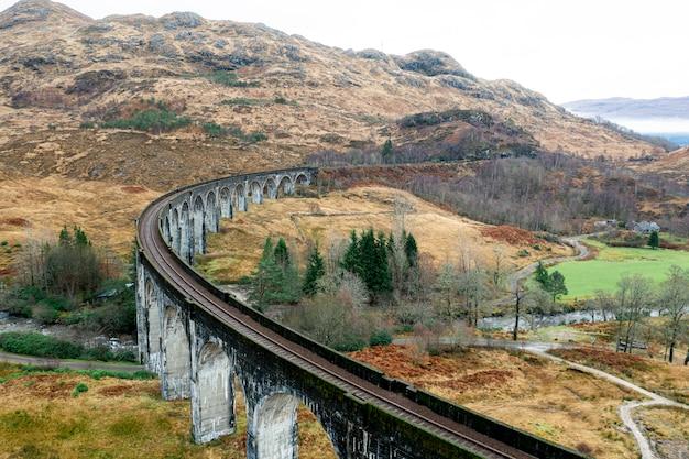 Дрон вид красивой железной дороги