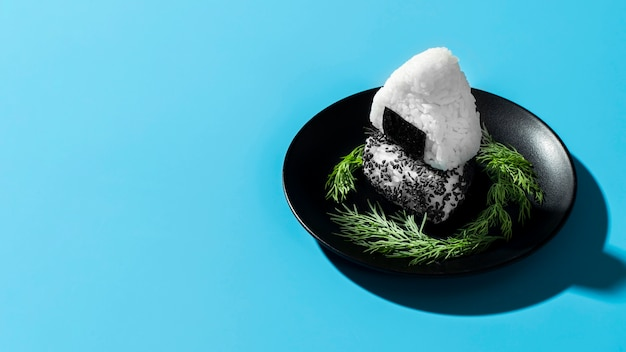 コピースペースと黒のプレートに寿司飯