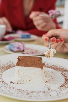 皿の上のクローズアップのおいしいケーキ