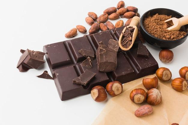 Вид спереди вкусный шоколад