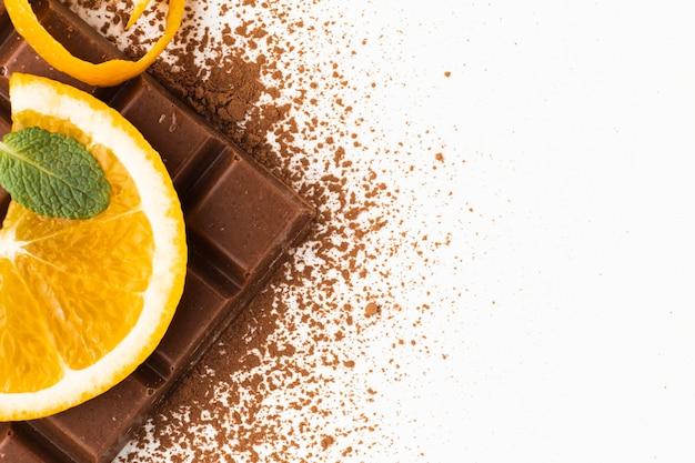 Сладкий какао-бар копией пространства