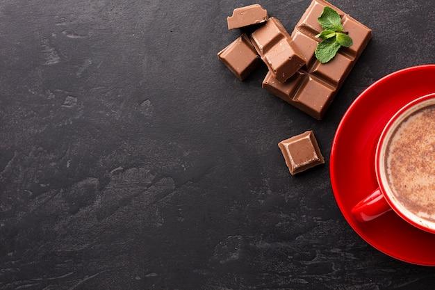 Горячий шоколадный напиток копией пространства