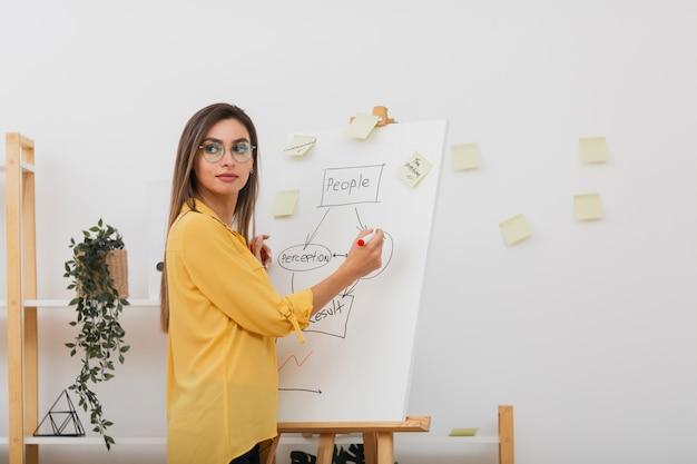 図に取り組んでいる美しいビジネス女性